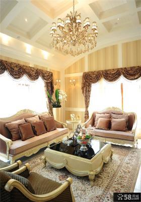 新古典风格别墅客厅吊顶效果图