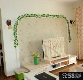 家庭碎花壁纸电视背景墙装修效果图
