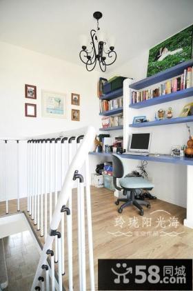 地中海风格复式楼书房装修效果图-非空设计