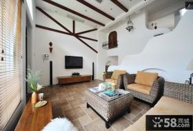 美式风格别墅客厅藤编沙发图片