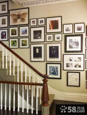 美式家装楼梯间相片墙效果图欣赏