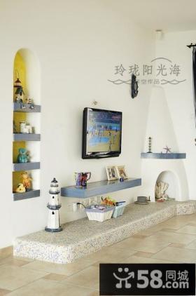 地中海风格客厅电视背景墙装饰-非空设计
