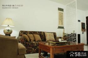 90平米田园风格小户型客厅电视背景墙效果图