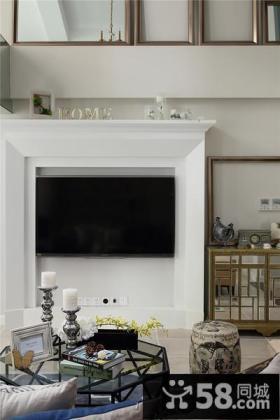 美式简约风格家居电视背景墙装修效果图