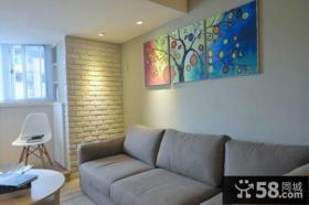 现代日式风格沙发背景墙装饰画图片