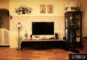 美式小别墅客厅电视背景墙图片