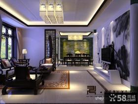 新中式别墅客厅吊顶设计效果图