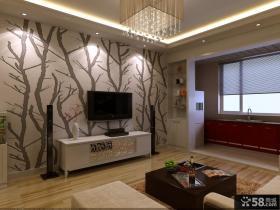 小户型客厅背景墙壁纸效果图