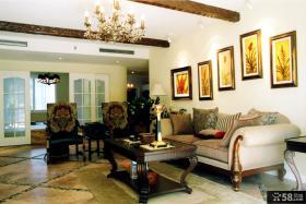 美式新古典四居室客厅装修效果图