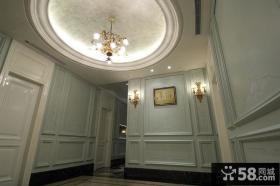法式别墅玄关圆形吊顶设计