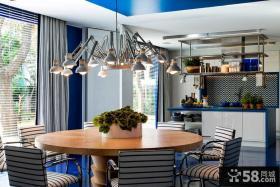 现代别墅餐厅吊灯装饰效果图