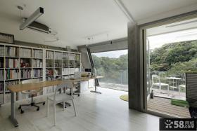 现代极简别墅室内书房装修效果图