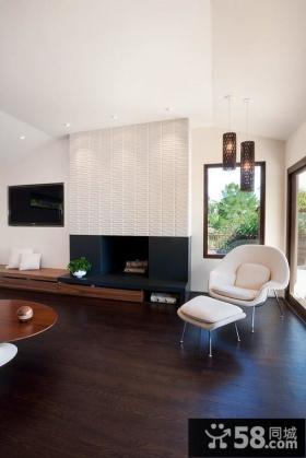 别墅简约客厅电视背景墙装修效果图