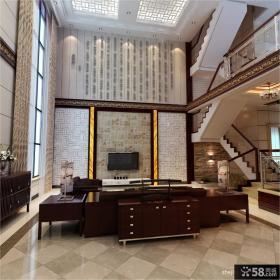 中式别墅客厅电视背景墙装修效果图大全2012图片