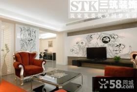 欧式客厅手绘电视背景墙装修效果图