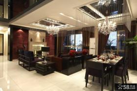 中式别墅客厅餐厅吊顶装修效果图欣赏