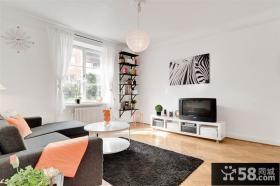 44平方米小户型简约风格客厅电视背景墙装修效果图