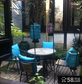 中式露天小阳台装修效果图