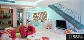 家庭装修复式客厅电视背景墙设计效果图