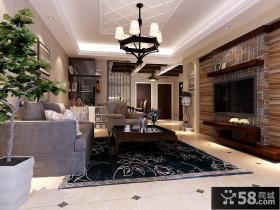 美式现代客厅电视背景墙装修设计图片