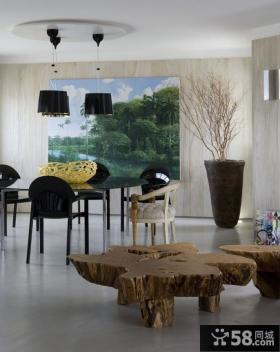 家居室内根雕茶桌效果图