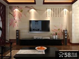 新中式电视背景墙瓷砖装修效果图