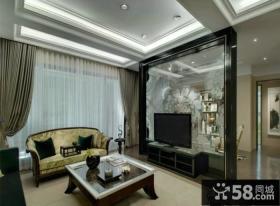 新古典风格设计客厅电视背景墙效果图