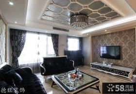 80平米小户型新古典客厅壁纸电视背景墙装修效果图