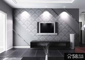 简约电视背景墙壁纸设计效果图