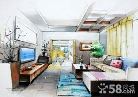 室内手绘客厅电视背景墙效果图