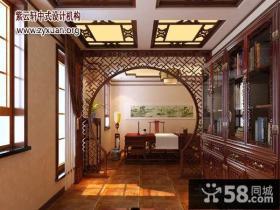 中式风格别墅二楼书房装修效果图
