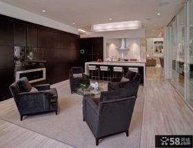 现代复式公寓客厅沙发组合柜装修
