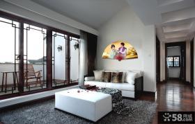 现代风格沙发折扇背景墙效果图
