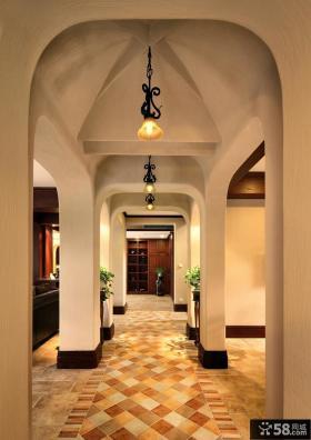 美式乡村风格别墅室内走廊装修图