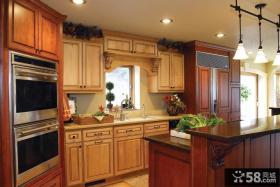 美式乡村别墅开放式厨房整体实木橱柜装修效果图大全2012图片