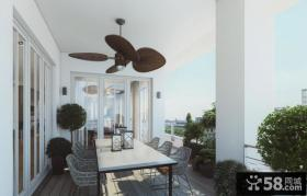 现代豪华别墅开放式阳台餐厅设计效果图