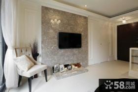 40平米现代风格客厅电视背景墙设计图