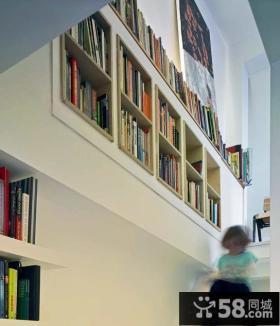 楼梯嵌入式创意书架设计图