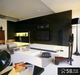 简约设计复式客厅电视背景墙