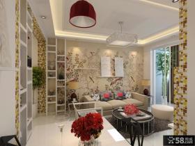 现代客厅沙发壁纸背景墙装饰图片