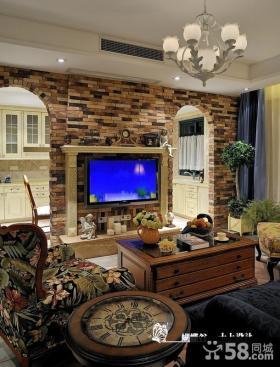 美式田园客厅电视背景墙装修设计图