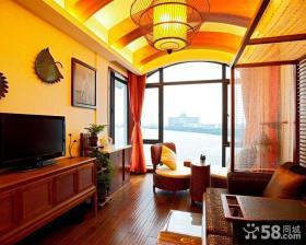 小户型中式客厅电视墙效果图欣赏