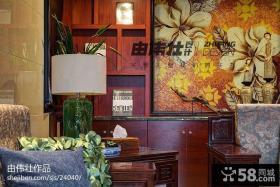 中式复式楼家庭壁柜壁画图片