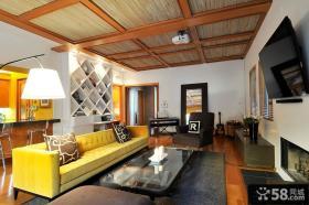 现代风格客厅有梁吊顶效果图