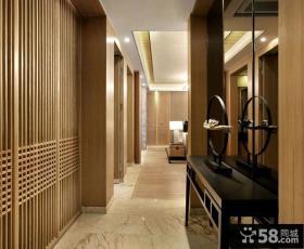 中式现代设计别墅室内过道效果图