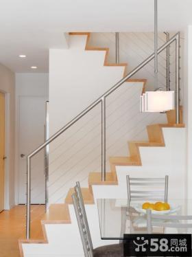 别墅室内不锈钢楼梯扶手图片