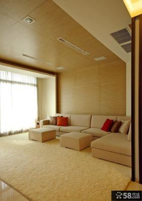 现代简约大户型二居客厅地毯效果图