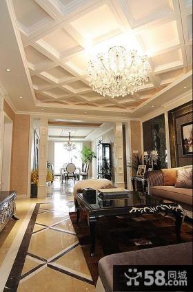 新古典客厅天花吊顶装修效果图