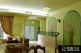 复式楼客厅背景墙装修效果图 田园风格装修效果图