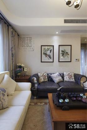 简约美式客厅沙发背景墙挂画